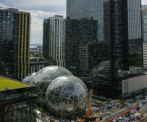 Three spheres house over 2,600 plants from 30 countries' cloud regions. Photo